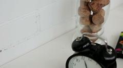 Black circular retro alarm clock Stock Footage