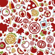 tomato seamless pattern - stock illustration