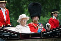 London, UK - June 13 2015: The Queen Elizabeth and Prince Phillip appear duri Stock Photos