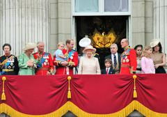 LONDON, UK - JUNE 13: The Royal Family appears on Buckingham Palace balcony d - stock photo