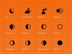 Moon eclipse icons on orange background Stock Illustration