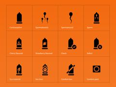 Safe sex and Condoms icons on orange background Piirros