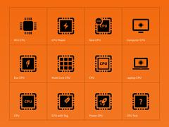 Microchip and microprocessor icons on orange background Stock Illustration