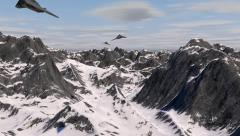3 Stealth Fighter Jets Fly In Over Winter Mountain Range Stock Footage