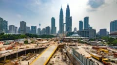 Timelapse 4k of a hazy and cloudy daylight view at Kuala Lumpur city centre Stock Footage
