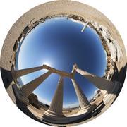 360X220° Fisheye Image - Side Apollon-Tempel (Allsky / Fulldome / Texture) Stock Photos