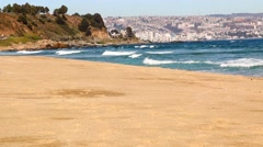 Ocean seascape scenic with vina del mar, chile skyline on background Stock Footage