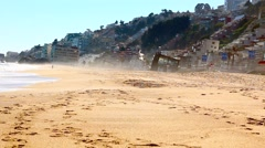 Vina del Mar, Chile. Ocean seascape scenic with wave crashing on sandy shore Stock Footage