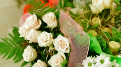Bouquet Of White Roses Stock Footage