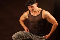 Man with beret Stock Photos