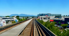 4K SkyTrain Public Rail Transit System, Above Ground, Cityscape - stock footage