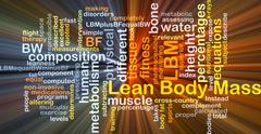Lean body mass LBM background concept glowing - stock illustration