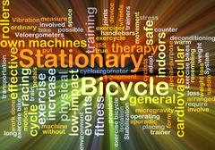 Stock Illustration of Stationary bicycle background concept glowing