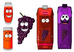 Stock Illustration of Cartoon grape juice, glasses and fruit characters