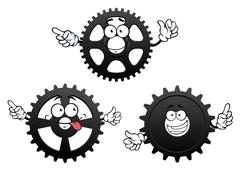 Funny cartoon cogwheels, gears and pinions Stock Illustration