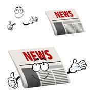 Newspaper character with news headline Stock Illustration