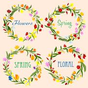 Spring floral wreaths with field flowers and herbs - stock illustration