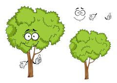 Cartoon isolated green tree character Stock Illustration