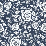 Seamles pattern with stems of white roses - stock illustration