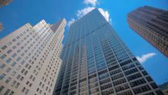 NYC skyscrapers with public artwork in the courtyard Stock Footage