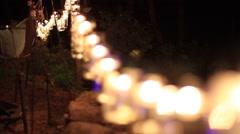 Mason Jars Used as Lights at with a Night Rack Focus Stock Footage