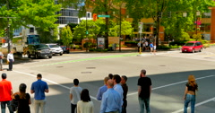 Stock Video Footage of 4K Pedestrians Wait at Side Walk, Go When Green, Downtown City Intersection