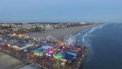 Santa Monica ferris wheel drone aerial Stock Footage