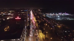 Santa Monica pacific coast highway night lights drone aerial Stock Footage
