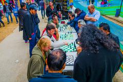 People playing chess in the streets of Bogota Colombia - stock photo