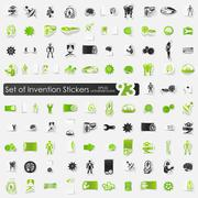 Set of invention stickers - stock illustration