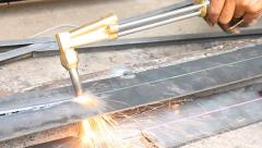 Sheet Metal Cutting With Acetylene Gas Oblique View Stock Footage