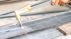 Metal Cutting With Acetylene Gas Oblique View Stock Footage