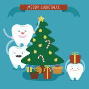 Merry Christmas family dental Stock Illustration