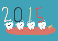 Happy new years of teeth - stock illustration