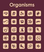 Set of organisms simple icons Stock Illustration