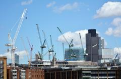 New construction buildings in City of London - stock photo