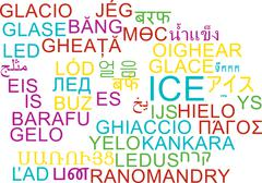 Ice multilanguage wordcloud background concept - stock illustration