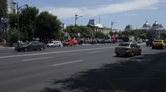 Thousands of Pro Union Youngsters March from Kishinev to Bucharest Stock Footage