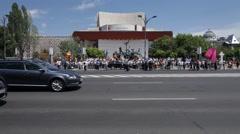 Pro Union March Kishinev Bucharest Stock Footage