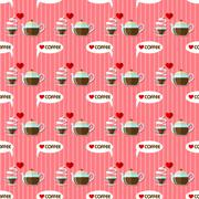 Coffee cup and coffee kettle seamless pattern Stock Illustration