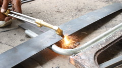 Sheet Metal Cutting With Acetylene Gas Top to Bottom Stock Footage