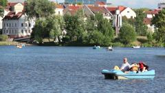 Catamarans are floating in the river in the city center of Minsk Nemiga Stock Footage