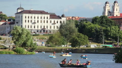 River transport floating in the river in the city center of Minsk Nemiga Stock Footage