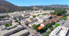 4K, Drone, Aerial view of Warner Brothers Movie Studios in Burbank, Los Angeles Stock Footage