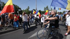 Stock Video Footage of Kishinev Bucharest March Pro Union Youngsters