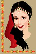 Indian woman with jewelry - stock illustration