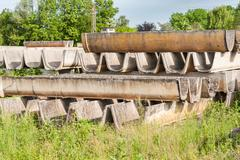Prefabricated in cement for the construction of irrigation channels Stock Photos