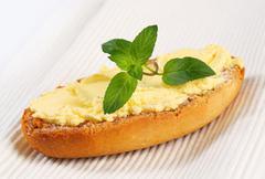 Crisp Melba toast with spread - stock photo