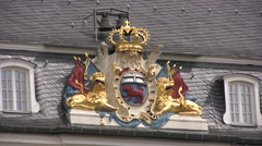 Coat of Arms emblem on town hall building in Bonn - stock footage