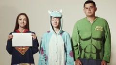 Superheroes funny jury Stock Footage